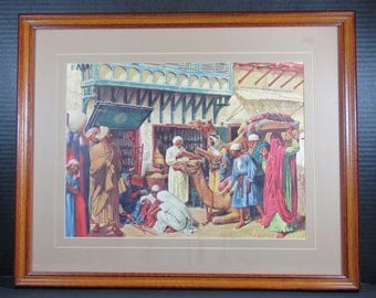 """Framed Robert Thom """"First Apothecary Shops"""" Print One From A History of Pharmacy in Pictures Series"""