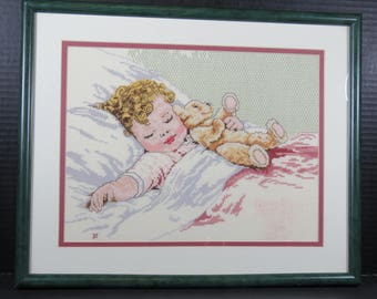 "Bessie Peace Gutmann Completed Cross Stitch ""Happy Dreams"" Signed Nursery Infant Sleeping Baby Teddy Bear Wall Hanging"