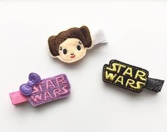 Princess hair clips, Leia hair clips, Star Wars hair clips, hair clip set, hair clip, Star Wars hair, Star Wars barrettes, Princess party