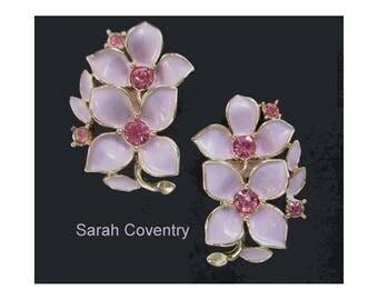 Flower Earrings * Sarah Coventry * Pink Rhinestones * Lavender Enamel * Vintage Clip On Earrings * Gift For Lady