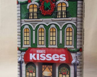 Hershey's Kisses Christmas Tin ~ Christmas Brownstone ~ Store Front ~ Candy Tin ~ Storage Box ~ Christmas Gift Box ~ Seths Vintage Emporium