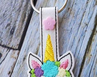 Floral Crown Boho Unicorn Head Keychain