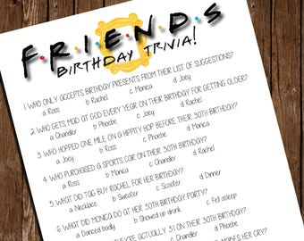 "Printable FRIENDS Birthday Game/ Birthday Trivia/ 8.5""x11"""