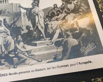 Athenes Delta, Authentic Carte Postale, Pericles prononce un discours sur les depenses pour i' Acropole