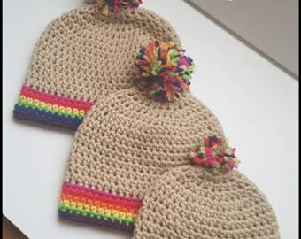 Rainbow Baby Beanie with Rainbow Pom-Pom