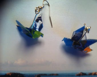 Blue origami bird earrings