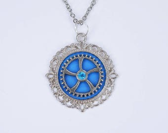 Necklace gear in blue metallic on silver link chain and blue rhinestone steampunk jewelry gears pendant Blue