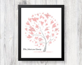 Beautiful Personalised FAMILY TREE Word Art Print Gift Keepsake Love Birthday Christmas Ideal Present For Mom Dad Son Daughter Friends