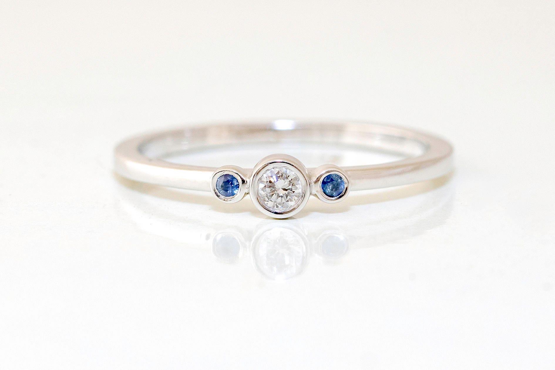 Three Stone Engagement Ring Blue Sapphire & Diamond ~ Simple 3 Stone Diamond  Engagement Ring ~ Minimalist Engagement Diamond Ring
