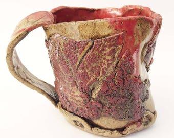 Unusual Stoneware Mug, Large Beautiful Primitive, big coffee mug,16 oz, Rustic Distorted Coffee Mug, Asymmetrical, Brown Red Tan