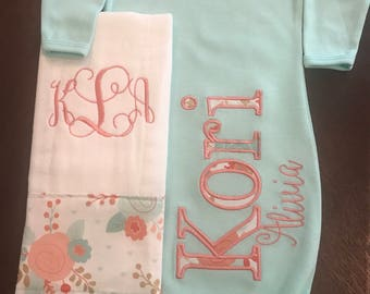 Mint green gown and burp cloth set