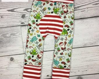Maxaloones ,size 1, christmas maxaloones,grow with me pants,cloth diaper pants,toddler leggings,baby leggings,baby gift,baby shower