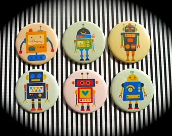 Set of 6 magnets 56 mms 'Vintage Robots'