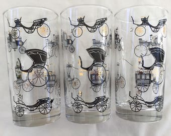 13 Pc. Libbey Antique Auto and Buggy Glasses Set, Automobile Horseless Carriage Drinking Glasses