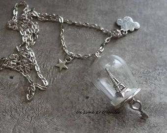 Necklace glass paris in the clouds
