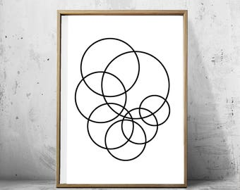 Geometric art print Abstract Circles Art, Minimalist Poster Black and White Wall art Scandinavian art Large Printable Monochrome Home Decor
