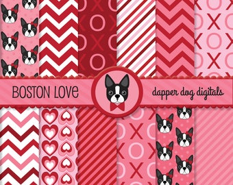 Valentine Boston Terriers Digital Paper Pack - Commercial Use, Scrapbook papers