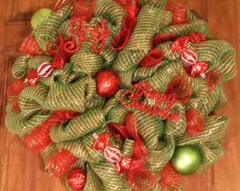 Green and Red Deco Mesh Wreath with Peppermint Candy Ornaments