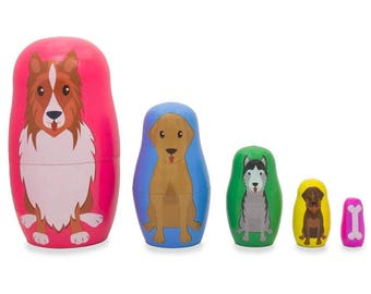"""4.75"""" Dogs and Puppies with Bone Animal Wooden Russian Nesting Dolls"""