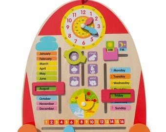 """14"""" Wooden Tablet to Learn Calendar, Time, Date, Weekdays, Weather and Seasons"""