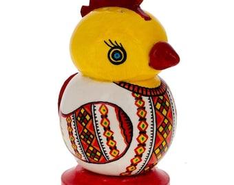"""3"""" Hand Made Wooden Chicken Egg Pysanky Salt Shaker"""