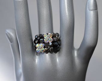 Ring Swarovski rectangle hematite 2x-silver night 2x-crystal ab2x