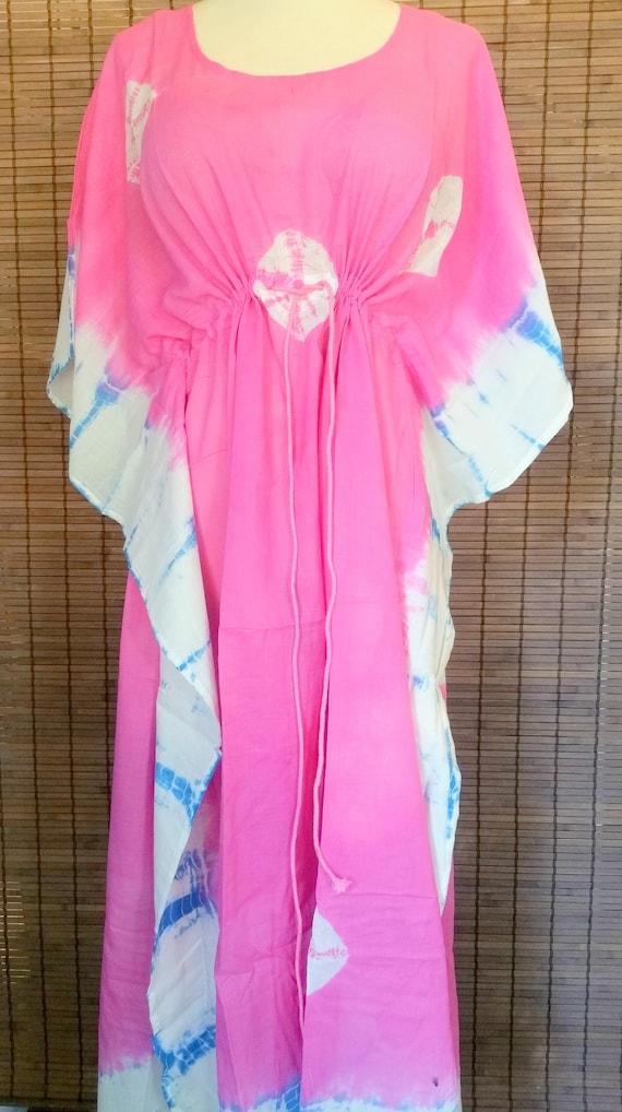 Rose Pink Bohemian dress kaftan beach coverup Boho chic poncho caftan tiedye dress Hippie dress gypsy dress ethnic resort clothing
