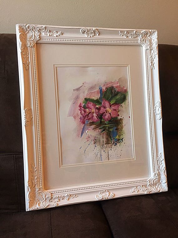 """Flowers - Untitled - 14""""x11"""" - Framed Acrylic on Paper"""