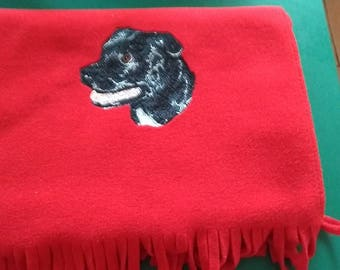 embroidered Staffordshire Bull Terrier Soft Fleece Scarf
