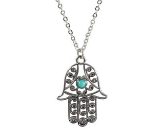 Hand of Hamsa Chain Necklace by Mayabracelets