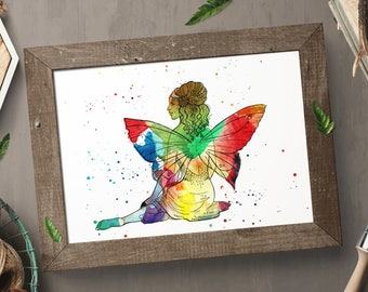 Watercolour, fairy wall art, print, home decor, gift for her, printable, wall decor, fairy, instant download, watercolour fairy