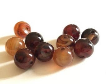 set of 10 10mm Brown agate stone