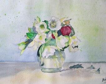 White hellebores bouquet watercolor painting