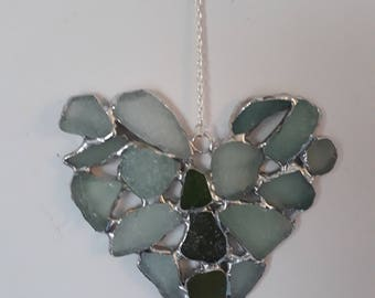 Small sea glass heart suncatcher, stained glass