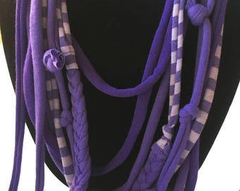 "Fancy, multi-length, colorful Scarf Necklace ""Purple People"""