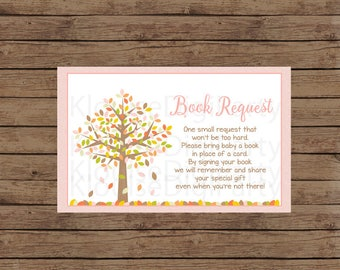 Printable Autumn Fall Tree in Pink, Brown, Orange and Green Baby Shower Book Request, JPEG 300DPI, 4x2.5 inches for Personal Use