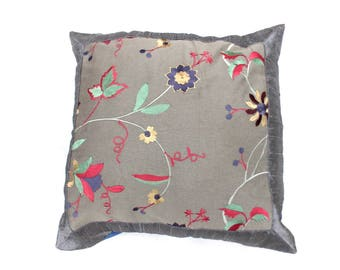 Indian Silk Cushion Cover Home  Embroidery Work Decorative Gray Color Size 17x17""