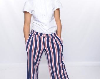 Women Loose fitting trouser pants pockets belt loops fourth of july zipper cotton