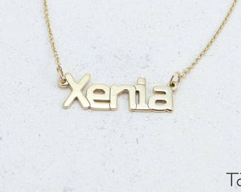 My Name Necklace, Custom Gold Necklace, Customizable Necklace, Personalized Jewelry, Gold Name Jewelry, Solid Gold Name, Personalized Gift