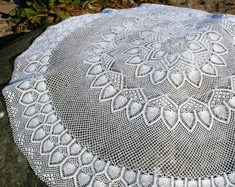 "Crochet tablecloth 113cm/44.5"" Round tablecloth Crochet lace tablecloth"