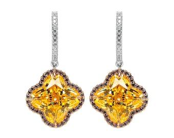 Sparkling Citrine Flower Earrings