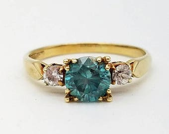 ON SALE Vintage Blue & White Zircon 3-Stone Ring in 10K Yellow Gold