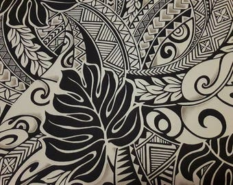 Black and Tan Polynesian Tattoo Fabric, Hawaiian Fabric, Aloha Shirt Material, Tribal Print, Island Fashion, Cotton poplin