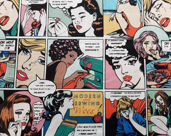 Sewing Sorrows Fabric, Comic Strip Style Modern Sewing Woes, Pop Art, Alexander Henry, by the yard, half yard