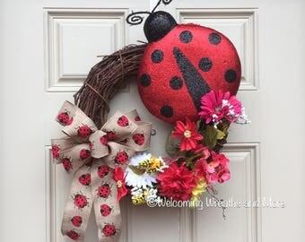 Ladybug Wreath, Spring Wreath, Summer Wreath, Ladybug Floral Wreath, Ladybug Grapevine Wreath, Ladybug Decor