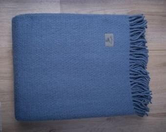 Blue wool blanket - Throw Blanket Wool - Warm Wool Throw - Merino Wool Gift, Blanket Wool