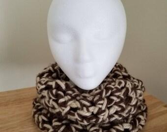 Chunky winter neck cowl-tan/brown