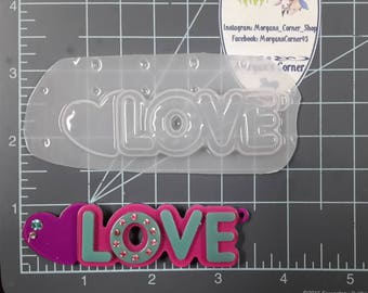 Love Plastic Mold or silicone mold, Resin Mold, heart Mold, clay mold, word mold, saying mold mold, peace mold, chocolate mold, jewelry mold