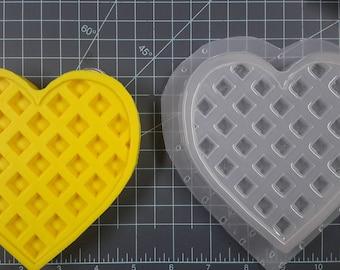 Large Heart Waffle Plastic Mold, food mold, bath bomb mold, soap mold, breakfast mold, waffle mold, resin mold, wax mold, heart mold, love