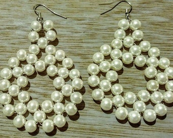 Pearl white beaded dangle earrings